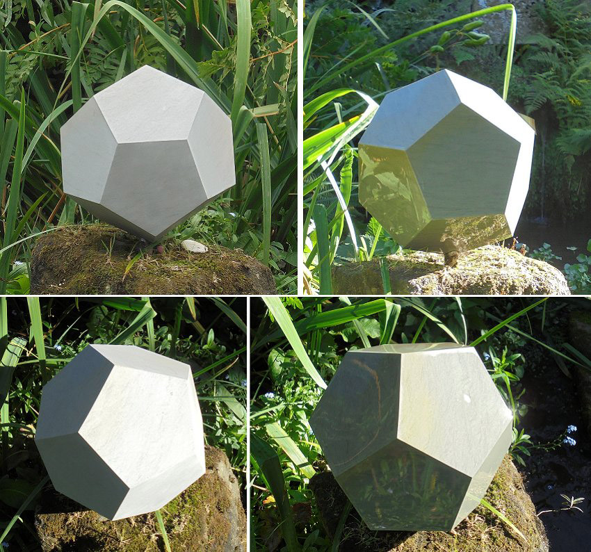 Geometric stone sculpture Dodecahedron 2