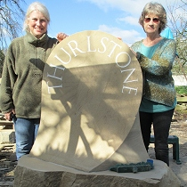 Geometric stone sculpture village waymarker stone - 37